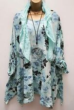 New  Italian Lagenlook MINT floral Loose Tunic Top & Scarf UK 18 20 22 24  54""