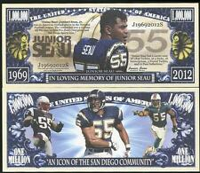 United States Usa 1 Million Dollar Bill In Memory Of Junior Seau Unc