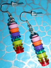 HAND MADE QUIRKY BRICK DANGLE EARRINGS, MADE USING LEGO BRICKS