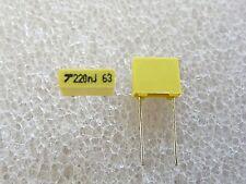 10 condensateurs MKT 220nF 63V 5% AVX TPC