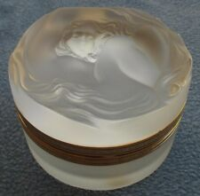 Lalique Crystal Daphne Nude Woman Covered Hinged Powder Dresser Box Mint