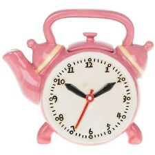 Retro collectable pink Teapot clock tea vintage novelty ceramic ornament gift