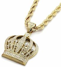 "Mens 14k Gold Iced Out Queen Crown Pendant Hip-Hop 30"" Inch Rope Necklace Chain"