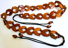 "Indonesia Handmade Wood Beads Women Belt Brown stained - Small - 30"" Plus - New"