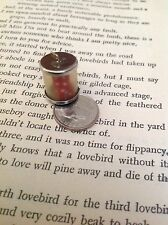Vintage STERLING Silver CHARM Pair of Red Dice in Canister Tube