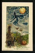 Halloween postcard Winsch 4.1-4 Artist Schmucker Witch JOL black cat owl RARE!