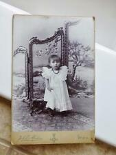 Antique Cabinet Card Photo c1900 Adorable Little Girl posed by Beautiful Screen