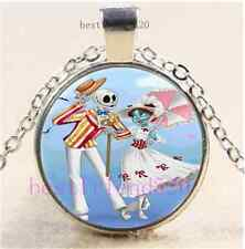 Jack And Sally Wedding Cabochon Glass Tibet Silver Chain Pendant Necklace