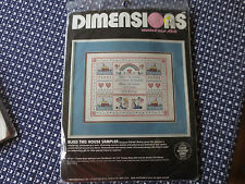 1986 Dimensions BLESS THIS HOUSE SAMPLER Counted Cross Stitch SEALED Kit #3621
