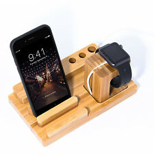 Natural Bamboo Wood Charger Dock Stand Holder For Apple Watch & Apple iPhone