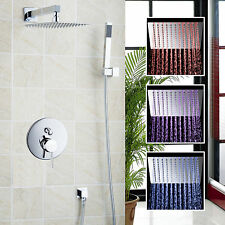 LED Colors Rainfall Shower Set Mixer Faucet 8 inches Shower Head + Hand Sprayer