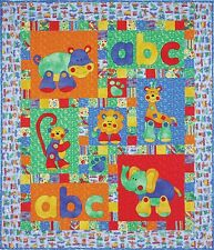 ALPHABET JUNGLE QUILT QUILTING PATTERN, Fusible Applique From Kids Quilts NEW