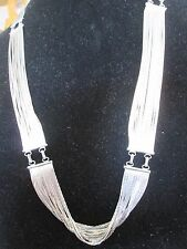 "Artisan Silver tone necklace 28"" Statement piece liquid silver"