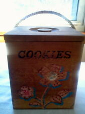 VINTAGE WOODEN COOKIE JAR BOX DOVETAIL JOINTED HANDPAINTED HAND MADE