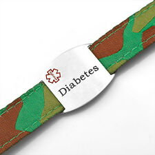 Diabetes Medical ID Tag Kids Camouflage Sport Strap Bracelet 4 - 8 In - AA1341