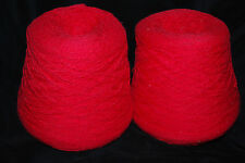 2 Cone Shaped Bolts Vintage Cotton Red Weaving Loom Yarn 4-1/2 Lbs. Free Ship