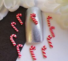 "10pc x 3D Nail Art Tiny Christmas Red White ""Candy Canes"" Xmas Fimo Clay Craft"