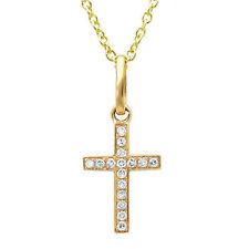0.06CT 14K Yellow Gold Natural Diamond Cross Tiny Pendant Necklace with Chain