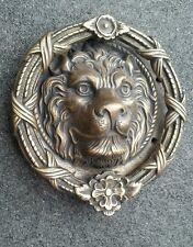 """Large unique antique vintage brass lion head door knocker 8"""" dia."""
