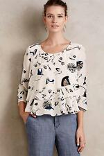 NIP Anthropologie On The Town Swing Top Sz 4 Size New Blouse by Maeve Silk