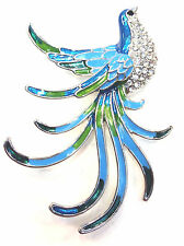 Bird Brooch Austrian Crystal And Blue And Green Enamel Silver Tone Pin Broach