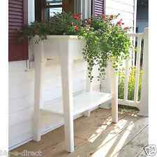 "White Outdoor Patio 36"" Deluxe Large Garden Planter Flower Box Stand with Shelf"