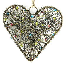Christmas Heart Ornament Beaded Wire Tree Decoration Handmade Metal Hanging 5""