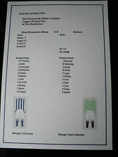 1919-20 West Bromwich Albion v Chelsea Division One Matchsheet