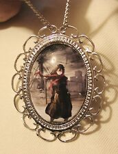 Lovely Scallop Rim Lady Red Scarf Walking in Storm Silvertn Pendant Necklace Pin