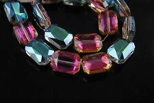 6pcs Hot Colorized Glass Crystal Rectangle Bead 18x12mm Spacer Jewelry Findings