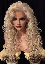 GORGEOUS LONG CURLY Platinum Blonde Lace Front HUMAN HAIR BLEND Wig!