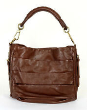 DIOR $2,300 Brown Ruched Aged Lambskin LIBERTINE Logo Strap Hobo Bag