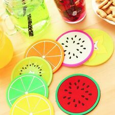 2X Fruit Style Durable Round Heat Resistant Cups Mat Coaster Kitchen Tool