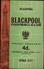 Blackpool Football Club Official Programme v Stoke City April 17 1965