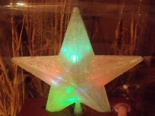 CHRISTMAS LED COLOR LIGHTS LIGHTED VICTORIAN FROSTED STAR TREE TOPPER TOP WINDOW