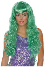 Synthetic Role play Cosplay Reenactment or Crossdresser Costume Long Green Wig