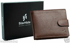 Starhide Mens Designer Quality Luxury Soft  Brown Leather Wallet Gift Boxed 1075