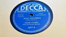 FRANK LUTHER HAIL COLUMBIA & COLUMBIA GEM OF THE OCEAN DECCA 2477