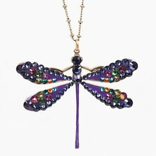 NEW ANNE KOPLIK MULTICOLOR & PURPLE STONE DRAGONFLY NECKLACE SWAROVSKI CRYSTAL