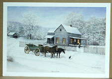 Home for Christmas Fred Thrasher Sold Out Deer Horse Wagon Winter Snow Tree