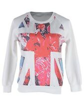 USA S/M Fit White with Pink Floral Background Union Jack Flag Sweater