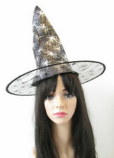 Black & Silver Spider Witch Hat Halloween Fancy Dress Costume Womens Girls S56
