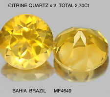 QUARTZ MATCHING PAIR NATURAL MINED UNTREATED TOTAL 2.70Ct  MF4649