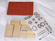Stamps Crayon Kids Set of 10 Wood Unmounted Rubber NEW Stampin' Up! Retired 2002