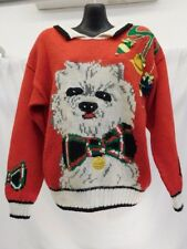 JENNIFER REED CONCEPT HAND KNITTED UGLY CHRISTMAS SWEATER RED LASA SHIH TZU DOG