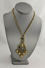 70s 80s VINTAGE Jewelry JET BLACK GOLD MESH CHAIN RHINESTONE DANGLE NECKLACE