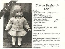 "Raglan Sweater & Skirt Knitting Pattern for 18"" Doll Clothes Renee Lagala LD-04"
