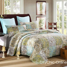 Queen Green/Blue Paisley Patch Work 100% Cotton Quilted BedSpreads 3Pc Set