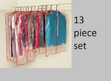 13 pc Clothes cover garment suit dress dust clear plastic hanging storage bag