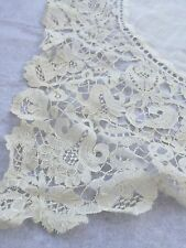 Antique Wedding Hankie Linen W/Deep Italian Lace Edge